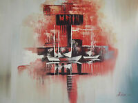 abstract red boats ships large oil painting sea ocean fishing sailing original