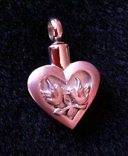 Stunning Birds Heart Cremation Pendant Urn Ashes keepsake Memorial Casket Doves