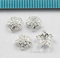 8x BRIGHT STERLING SILVER FLOWER FILIGREE BEAD CAP 6.2mm SPACER BEAD  N823