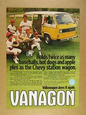 1980 VW Volkswagen Vanagon yellow & white van bus photo vintage print Ad