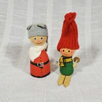 Vintage Sweden Made Wood Figurines Skiing w Hats On Swedish Nordic