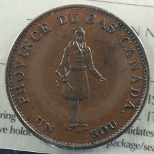 LC-8D1 ICCS EF-45 Halfpenny token 1837 Lower Canada Bank of Montreal Breton 522