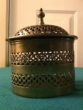ANTIQUE BRASS CANISTER - Reticulated CRICKET CAGE - JAR - CANDY DISH VANITY URN