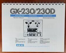 Akai GX-230 / GX-230D Reel to Reel Tape Deck Owners Manual