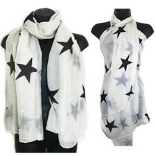 White Blue  Stars Print Scarf Sarong Body Wrap Scarves Shawl Beach Large xx