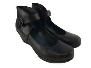 Dansko Rebel Black Leather Wedge Ankle Strap Sandals Heels Shoes Euro 41 US 10