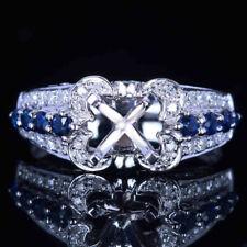 Silver Brilliant Natural Sapphire Diamond Semi Mount Wedding Ring 6.5mm Round