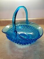VTG INDIANA GLASS Large Tiara Blue Diamond Point Canterbury Basket 11""