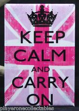 "Keep Calm and Carry On 2"" x 3"" Fridge Magnet. Union Jack UK"