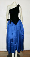 Bill Blass vintage one shoulder black velvet and blue satin evening gown 10
