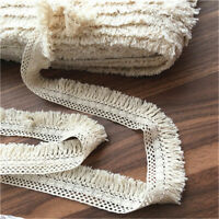 2pcs 1Yd Cotton Lace Tassel Trim Ribbon Fringe Fabric Garment DIY Sewing Craft