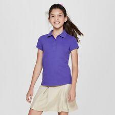 Girls' Short Sleeve Pique Uniform Polo Shirt - Cat & Jack Purple XXL