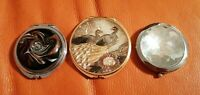 3 LOVELY COMPACT MIRRORS PEACOCKS CRYSTAL & GLITTER & GLASS LOVELY CONDITION