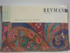 Vintage Revman Queen Flat Sheet Paisley Hippie NEW No Iron Percale
