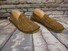 Simple eco beige/brown plaid canvas slip on shoes Men's US sz 15 'Green Toe'