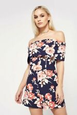 9858dee8fefe72 Miss Selfridge Petite Floral Bardot Playsuit Navy Size UK 8 Dh088 LL 12