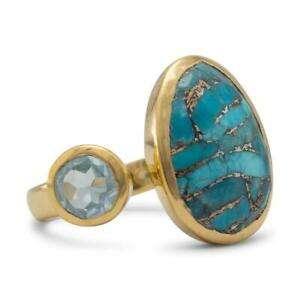 14 Karat Gold Plated Ring with Blue Topaz and Turquoise SIZE 8