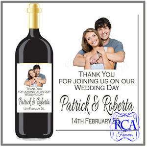 Single Personalised Wedding Day Sticker / Bottle Labels to fit wine style bottle