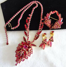 Vintage Juliana Rhinestone NECKLACE BROOCH EARRING SET Book Pcs Magenta Pink