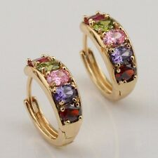 Colorful Multi-Color CZ Fashion Jewelry Gift Gold Filled Huggie Earrings er1175