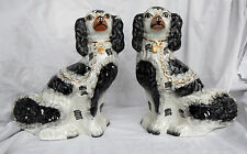 Pair of Staffordshire Pottery Wally Dogs 19thC Mantle Dogs / Spaniels / Flatback