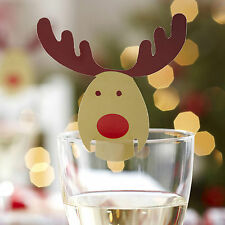10 CHRISTMAS TABLE NAME Glass Place Cards ROCKING RUDOLF Xmas Party Rudolph
