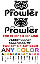 PROWLER FLEETWOOD  four decals  ANY COLOR camper RV trailer