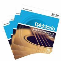 4 X D'Addario EJ16 Phosphor Bronze  Light Acoustic Guitar Strings 12 - 53 EJ 16