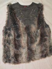 Catimini Designed In France Faux Fur Vest Girls Size 16 Brown Hooks Warm Soft