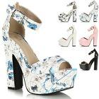 Ladies Womens High Block Heel Platform Demi Wedge Peeptoe Buckle Sandals Shoes