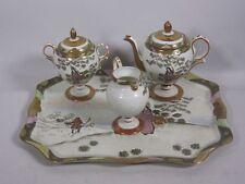 Asiatisches aussergewöhnliches Porzellan Teeset, 3 tlg. mit Tablett    5T649