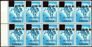 Ghana 1988 100c on 20np Dp Blue & Blue SG1261 V.F MNH Block of 10