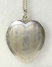 1940'S VINTAGE LESTAGE STERLING SILVER HEART LOCKET NECKLACE