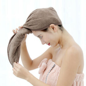 Coral Fleece Quick Dry Shower Hair Drying Wrap Cap Turban Towel Button Bath Cap