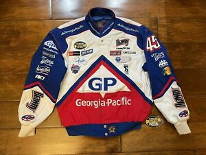 Kyle Petty #45 Georgia Pacific Racing Race Jacket Mens Size Large NASCAR New JH