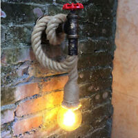 Vintage Industrial Hemp Rope Pipe Wall Sconce Rustic E27Creative Wall Light Lamp