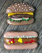 Vintage 1976 Plaster Hamburger Hot Dog Wall Art Food Decorative Hanging Kitsch