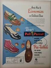 Vintage 1948 Poll Parrot Children's Shoes Print Ad Ephemera Art Decor