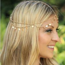 Fashion Charm Women Gold Multilayer Alloy Disc Tassel Chain Head Hairband Boho