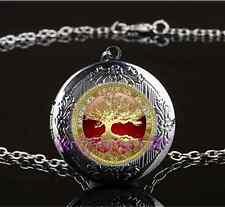 Celtic Gold Tree Of Life Glass Gun Black Chain Locket Pendant Necklace