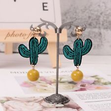 Embroidery Cactus Cute Style Dangle Drop Hook Earrings Women Jewelry Handmade