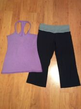 LULULEMON WOMANS CAPRI PANT & TANK TOP RACERBACK BLACK WITH GRAY PURPLE SIZE 6