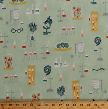 Science Lab Laboratory Equipment Biology Mint Cotton Fabric Print BTY D362.15