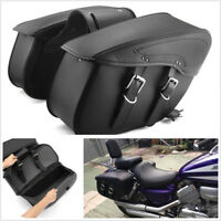 One Pair Universal Black PU Leather Motorbike Saddle Bags Luggage Bag Left+Right