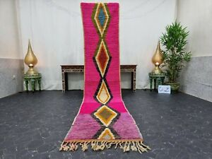 """Moroccan Boujaad Handmade Runner 2'3""""x11'1"""" Berber Geometric Pink Black Wool Rug"""