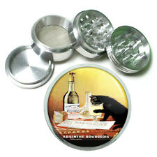 Absinthe Bourgeois Black Cat Metal Silver Aluminum Grinder D62 63mm Herb Spices