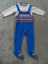 Vintage Mine Alone Japan Baby Blue Red Nordic Sweater Knit Overall Footie Set 9M