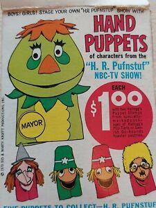 1970 H R Pufnstuff Hand Puppets Pop Tarts  Box Sid Marty Kroft Kelloggs