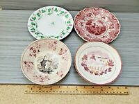 Antique British Soft Paste Lot of 4 Saucer or Bowl Plate Mixed Lot