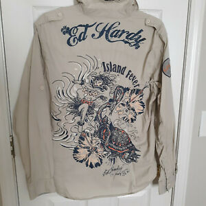 Vintage Ed Hardy Embroidered Long Sleeve Button Mens Sz XL Shirt - Rare
